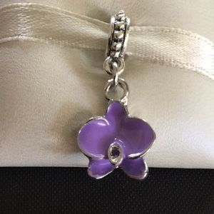 Charm flower lavender and silver works w/pandora